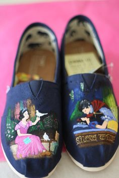 Snow White Inspired Custom painted Disney themed TOMS or Vans Artwork and Shoes included on Etsy, $145.00