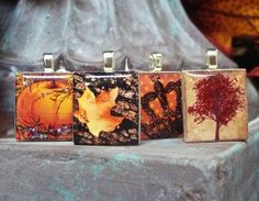 """Scrabble tile pendants from our set """"Fall Harvest"""" - Mango and Lime Design"""