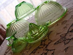 Green Depression glass #antique #vintage #bowls #glassware #glass #green #dishes