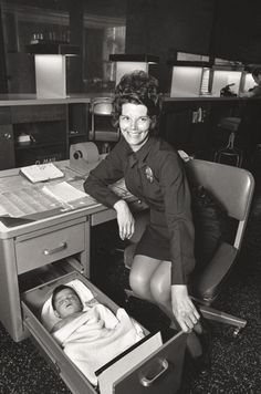 """""""Abandoned baby sleeping in desk drawer at Los Angeles Police station"""", 1971"""