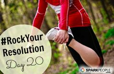 Happy, happy Monday, everyone! We're on Day 20 of our #RockYourResolution challenge--WOOHOO!! In the home stretch! Repin if you're going to commit to at least 10 minutes of fitness today. Let's start this week off right. You can do this!! | via @SparkPeople #fitness #health #goals #resolutions #newyears #challenge