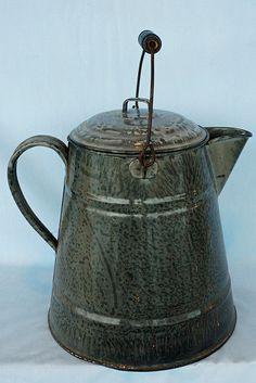 Huge Antique Speckled Graniteware Coffee Pot - $85