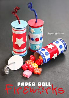 Repeat Crafter Me: Paper Roll Fireworks with a Candy Surprise