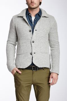 Wool Blend Sweater - I like how it's sort of a faux sport jacket