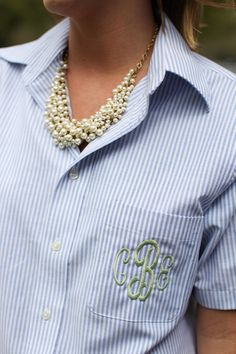 monogram shirt + pearl necklace monogram button down, bridesmaid gifts, pearl necklaces, monograms shirts, monogramed shirts, monogram shirt, monogrammed shirts