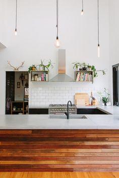 warm wood island + white subway wall | via Modern & Classic Kitchens ~ Cityhaüs Design