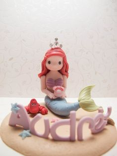 Handmade Little Mermaid Figurine (for birthday cake topper or a gift) - Princess with a crown via Etsy