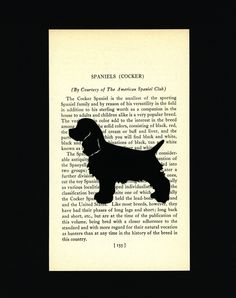 Cocker Spaniel Puppy - Hand-cut Silhouette Mounted on Vintage Dog Book Page 155 MADE TO ORDER. $20.00, via Etsy.