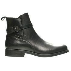 Leather Flat Ankle BootOzsaleCS6687-C-Black