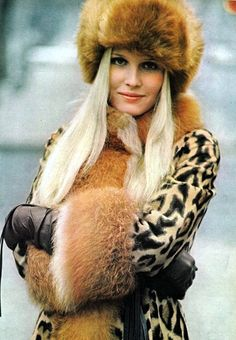 vintag, vogu 1970, style, fur coat, anim print