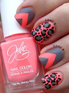 I would do a normal grey nail all over & then my accent nail the pinkish color base coat with the cheetah print.