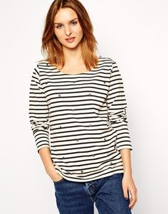 Maison Scotch Top in Stripe with Star Embellishment