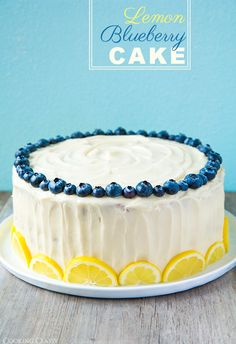 Lemon Blueberry Cake- I want to make this right now and have a cute backyard party to eat it at! #dessert #food #summer #cake #ShopGeniusApp .com