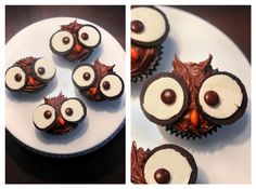 Owl Cupcakes - Could be for Halloween but they could be Perfect for a Thanksgiving Day Dessert Table or Owl Themed Birthday or Baby Shower! Idea from @OneCharmingParty