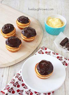 Mini Boston Cream Pies with livelaughrowe.com