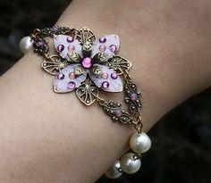 Bridesmaids set jewelry bracelet pearl purple lavender by AmberSky, $68.50
