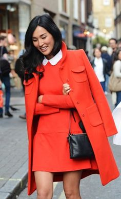 pop the color w/ matching coat/dress