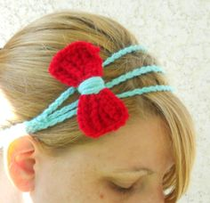Three strand aqua and red bow tie crochet by ValkinThreads on Etsy, $9.00