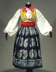 RARE Old Slovak Folk Costume embroidered blouse blueprint apron linen skirt KROJ