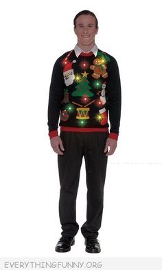 Funny Ugly Christmas Sweater - Lights Up - Perfect for Holiday Parties