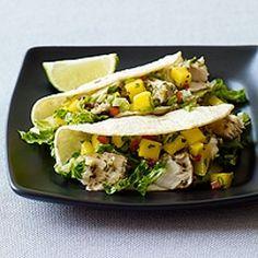 Oscar Party Food: Mahi Mahi Soft Tacos (The Descendants) fish tacos, weight watchers, grilled fish, soft taco, food, taco recipes, mahi mahi, weight watcher recipes, fruit salsa