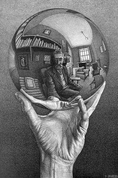 Hand WIth Reflecting Globe - MC Escher, 1935. I was first introduced to this in High school when we had to do a reflective sketch. One of the most challenging projects because of the perspective.