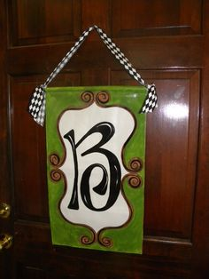 Hanging door or wall decor personalized letter / initial banner sign - very creative home diy idea