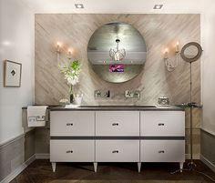 dresser style vanity + tile wall