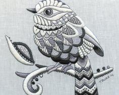 Whitework Embroidery Kit: Zentangle Bird