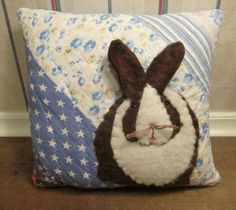Charming Keepsake Applique BUNNY PILLOW made from VINTAGE Patchwork Quilt