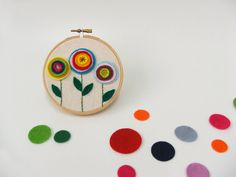 hoop with felt applique flowers - simple circles
