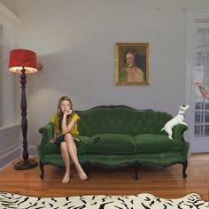 Green Velvet Couch, black trim