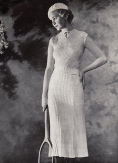 Now that's a tennis outfit. Fashion, Vintage Wear, Vintage Tennis, 1930S Tennis, Dresses, Tennis Outfits, Photos Shoots, Tennis Dress, Weights Loss
