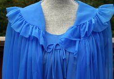 Cobalt blue peignoir set chiffon 1980s by retroglamvintage on Etsy, $19.99