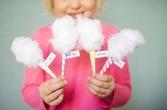 """DIY mini cotton """"candy"""" invitations carnival"""