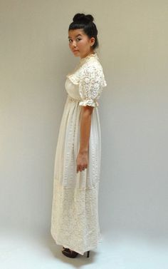 sale  Mexican Wedding Dress  //  70s Boho by VintageUrbanRenewal, $73.50