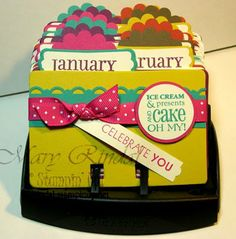 Rolodex Birthday Calendars - If you're crafty I'm sure you can make this. If you're like me and can't craft your way out of a paper bag - she sells them!