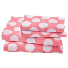 The Land of Nod | New School Kids Sheet Set (Pink Dot) in New Kids Bedding