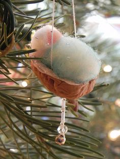 the baby in a walnut shell ornament