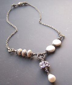 Pearl Necklace Vintage Patina Asymmetrical by adornmentsbymilani