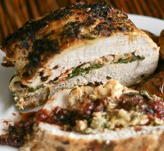 Greek Stuffed Pork Roast - Spinach, tomatoes, onion, garlic, feta cheese, oregano...