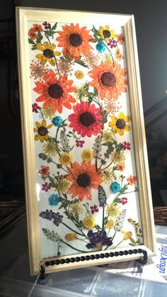 Real Pressed Flowers Orange Red Sunflowers and Wildflowers in 7 x 13 Cream Frame on Etsy, $41.00