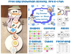 free silly snowman activity, shape or blends practice, differentiation ideas, bottle caps or card stock circles bottle caps, snowman activ, literacy activities, card stock, winter activities, silli snowman