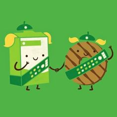 Girl Scout Cookies and milk. I want this on a shirt!!! Would be cute for the cookie rally pj party!