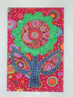 HAPPY FLOWER 4 x 6 fabric quilted appliqued postcard