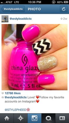 Hot pink one nail black and white striped one gold sparkled short nail design