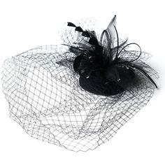 Silk Wedding Flowers & Wedding Accessories: Black Veil Headpiece with... ($60) ❤ liked on Polyvore