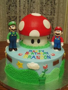"""Mario Bros Cake - This Mario Bros cake was totally inspired by cakeladydi's Mario cake.  Thank you!!  This was two 10"""" round layers, the stem was a 4"""" layer, and the mushroom cap was half of the sports ball pan.  Marble cake.  Mostly buttercream iced/decorated, some fondant accents.  Mario and Luigi are gumpaste figures.  This was a fun one to make!"""