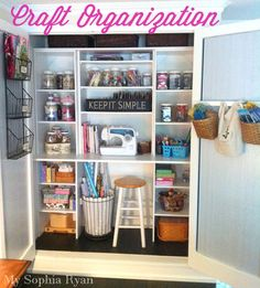 Hanging baskets helped transform this former clothes into a craft closet. Craft Organization Inspiration by My Sophia Ryan