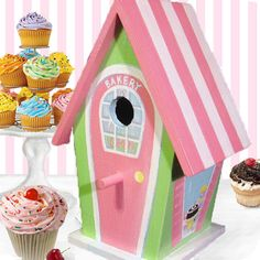 Hand Painted Bakery Birdhouse by PaintBrushedBoutique on Etsy